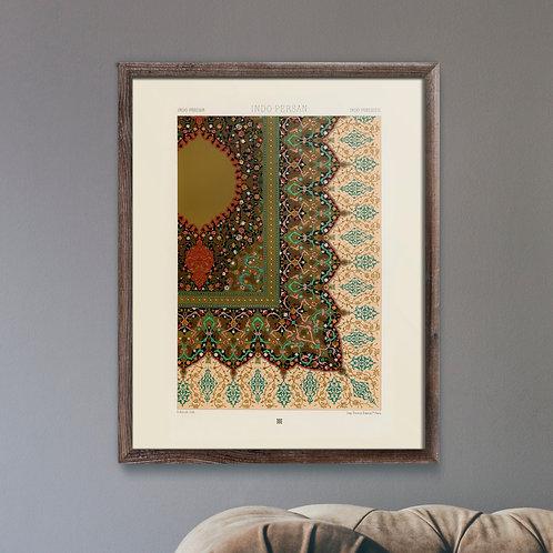 Framed Giclèe Art Print Mockup - Indo-Persian Pattern Lithograph