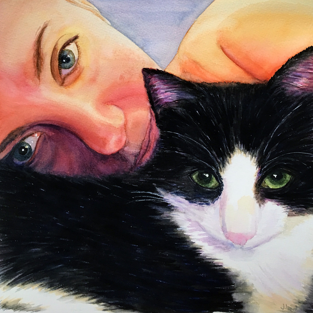 Jesssica and her cat - Pet Commission