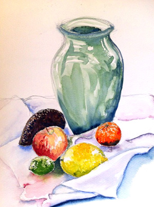 Study of Vase and Fruit