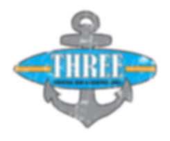 Three cocktail bar and seafood grill logo