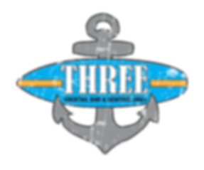 Three cockail bar and seafood grill logo