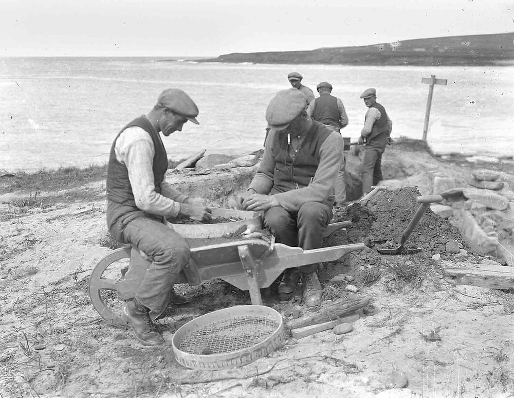 Ministry of Works men at Skara Brae in the 1920s