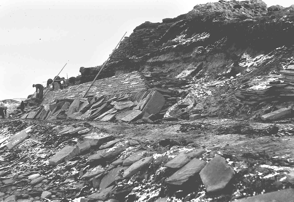 Building the sea wall at Skara Brae in the 1920s