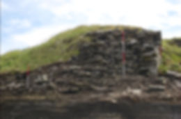 The main broch tower wall sectioned by the sea at South Howe, Rousay