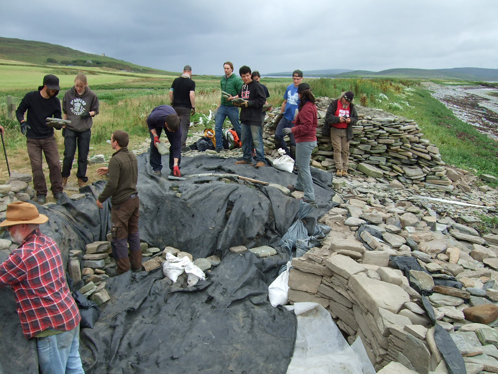 Backfilling the site at Swandro, Orkney for the winter