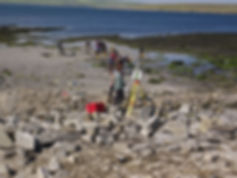 Test pits on the beach below the high water mark at the Knowe of Swandro, Orkney
