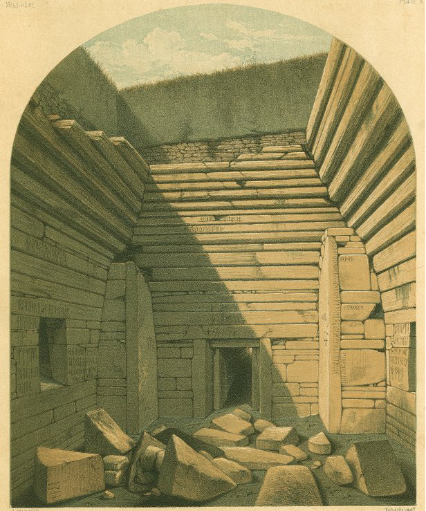 Interior of Maeshowe after excavation