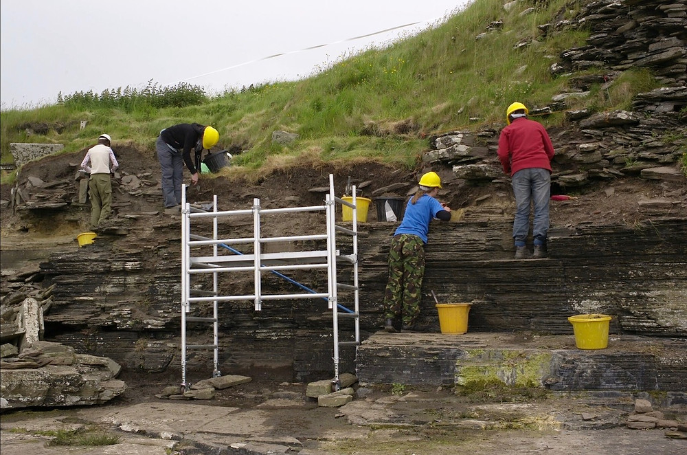 The Swandro team recording the eroding broch at South Howe, Rousay