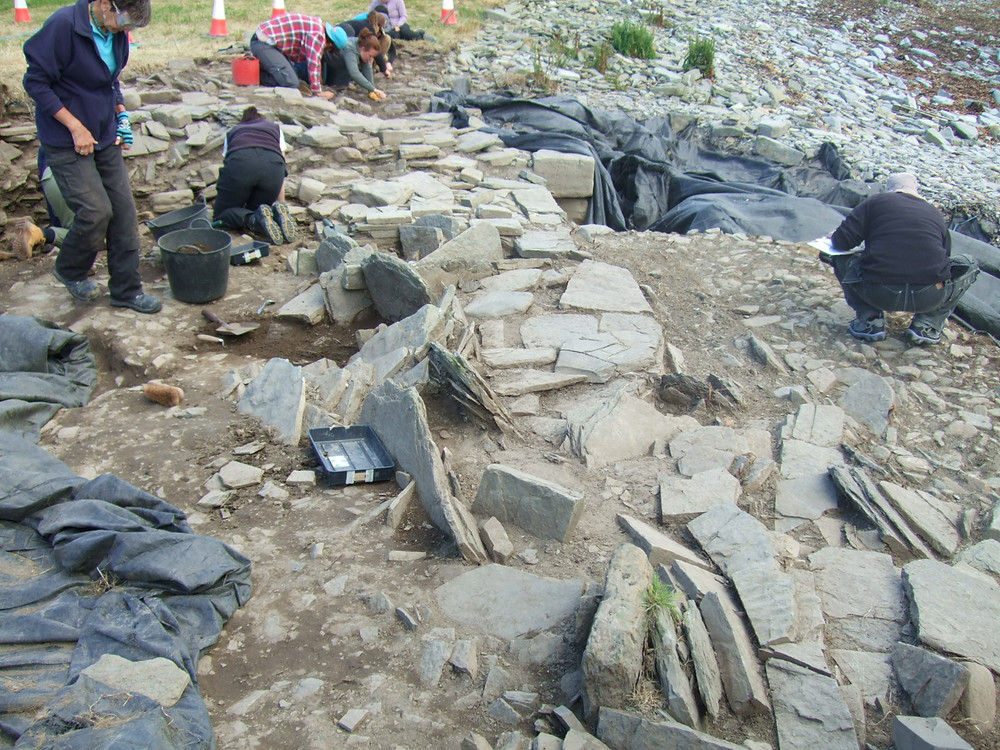 Looking towards the entrance of the chambered tomb from inside the body of the tomb at Swandro