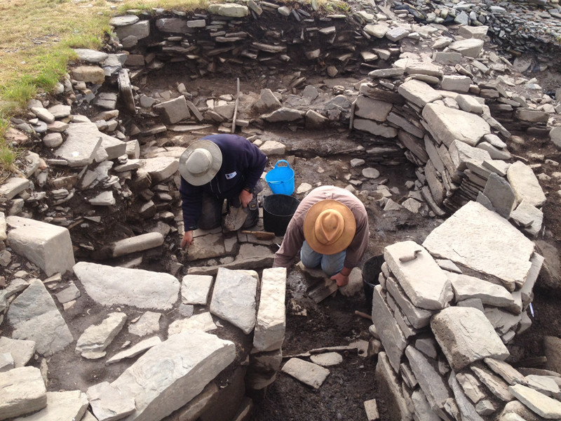 Floor levels in the Pictish smithy under excavation at Swandro, Orkney