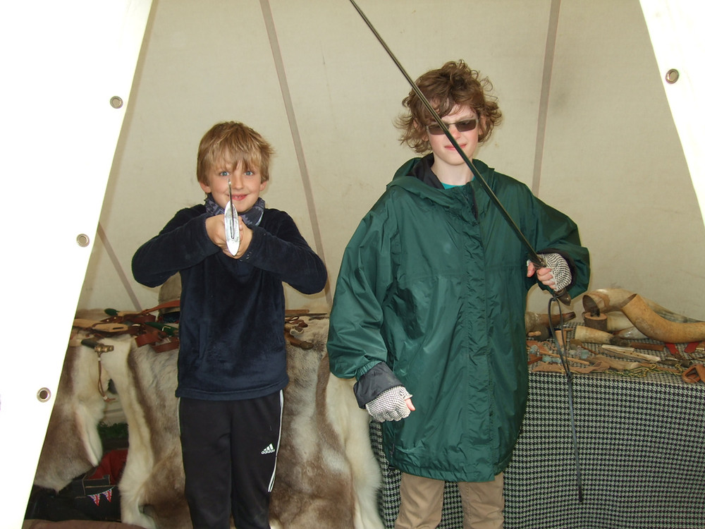 Magnus & Kjarten getting into the spirit of their Viking ancestors!