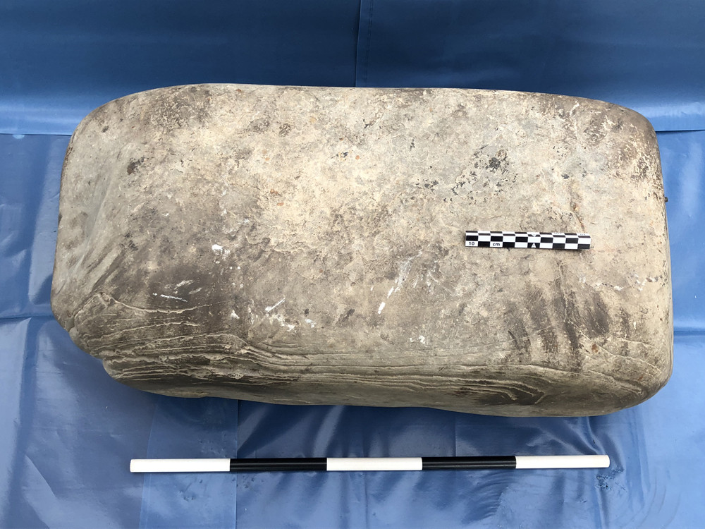Digging for Britain with Professor Alice Roberts featuring Swandro, Rousay - here's our Pictish anvil with the smith's handprints