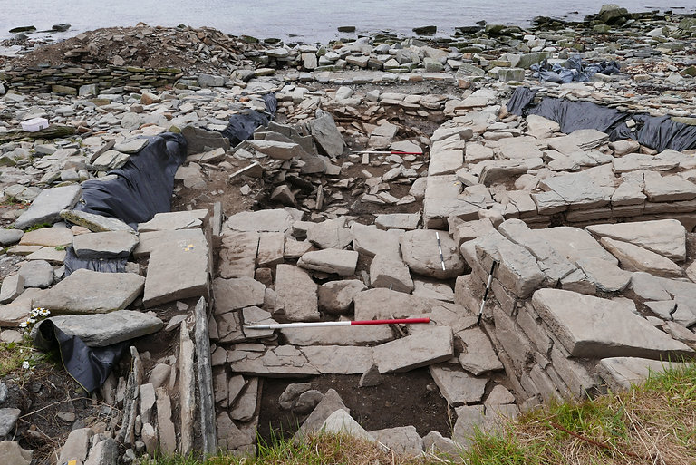 The later building built against the entrance of the chambered tomb at Swandro, Orkney