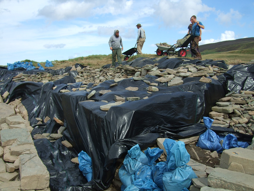 Entrance to the tomb at Swandro - backfilling begins