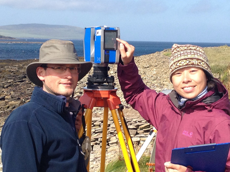 £-D scanning team at Swandro, Rousay, Orkney