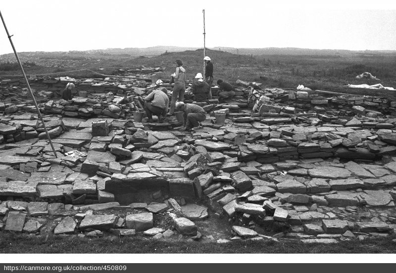 looking north across the Norse hall, Knowe of Swandro in the background