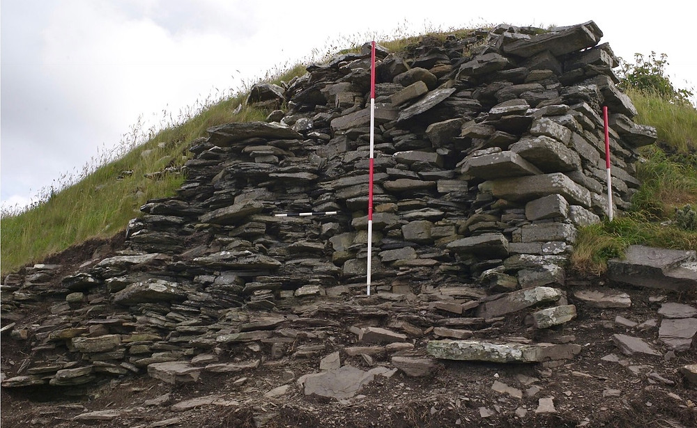 The eroding broch wall at South Howe
