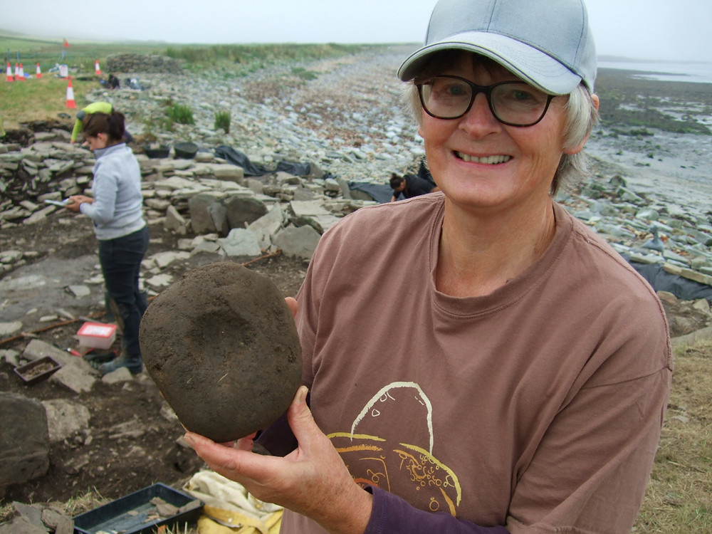 Maggie showing off her double bored stone at Swandro