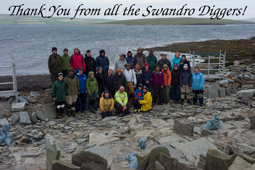 Thank you from all the diggers at the Knowe of Swandro excavation in Rousay, Orkney