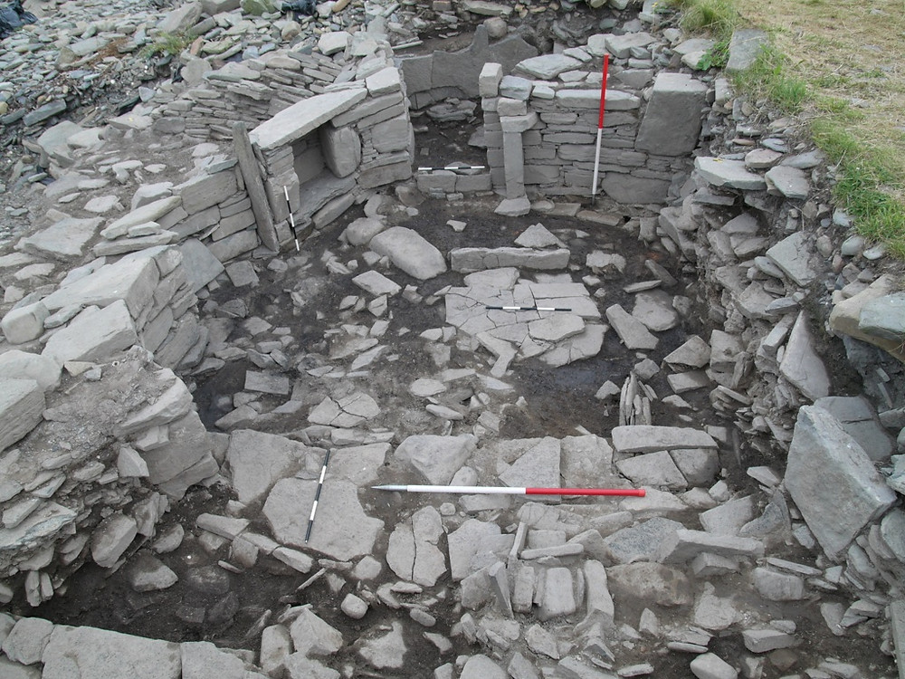 Pictish Smithy at Swandro, Orkney looking towards the entrance