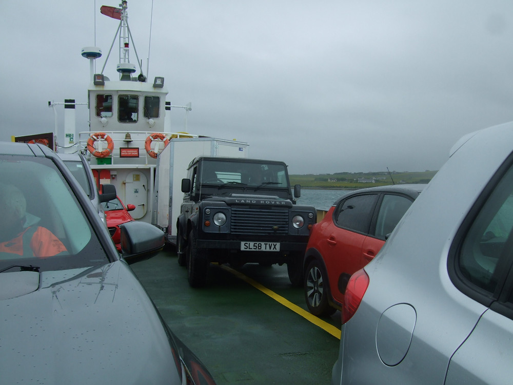Landy with Swandro trailer safely loaded on the MV Eynhallow