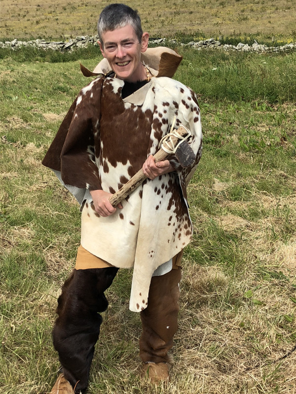 Cow hide poncho & furry leggings - ideal for sweltering at Swandro!