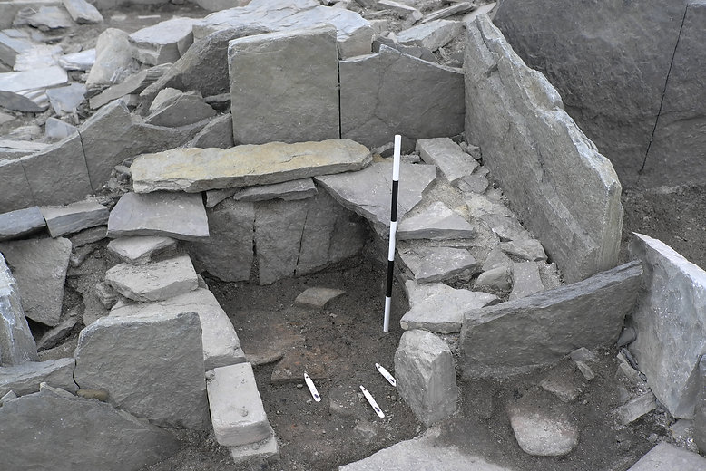 The probable Iron Age oven found at Swandro, Orkney