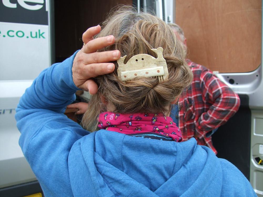 Meg modelling a replica Viking comb at Swandro