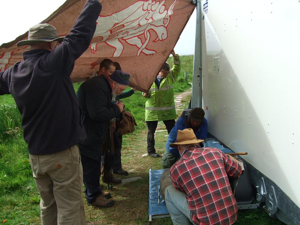 Viking battle banners as shade at Swandro