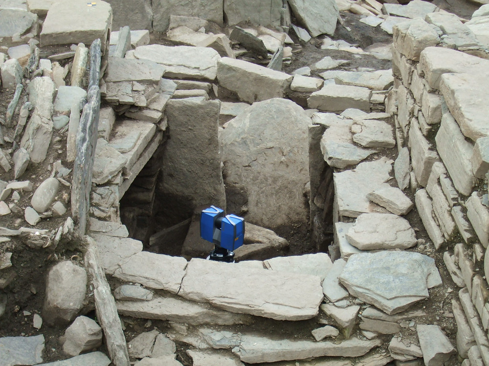 Laser scanning of the corbelled cell outside the roundhouse at Swandro, Rousay, Orkney
