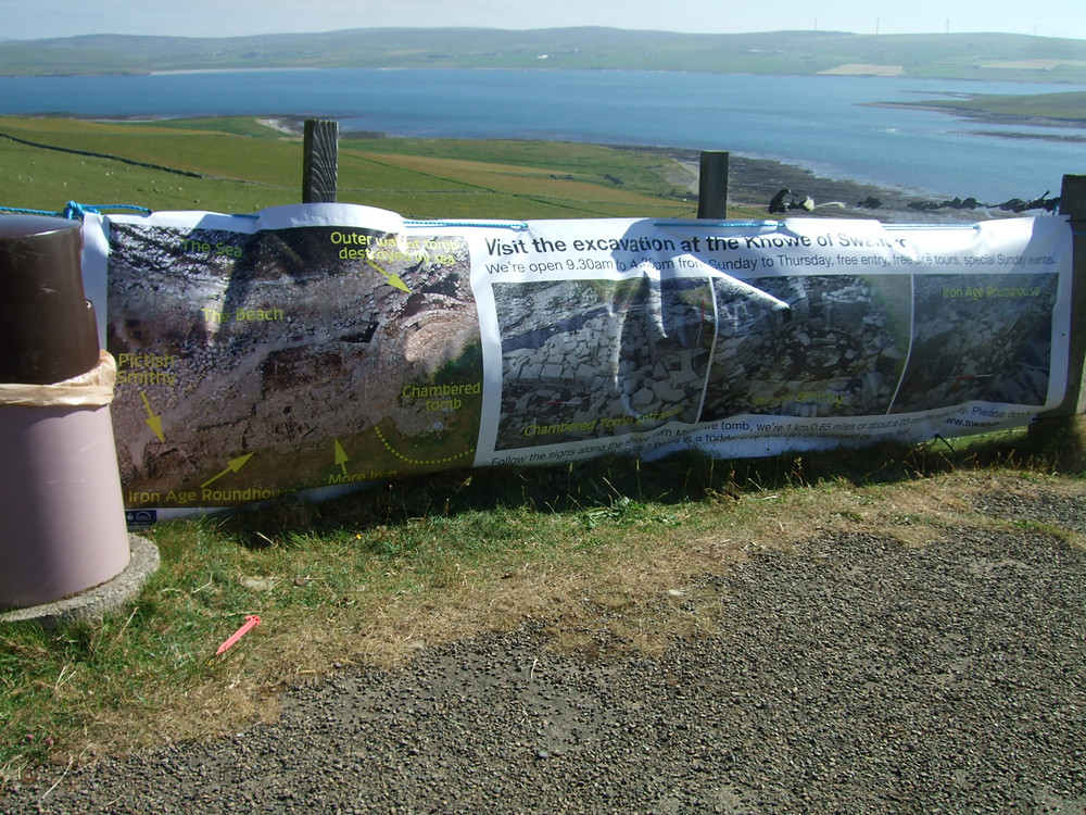 Visit the dig banner at Midhowe car park