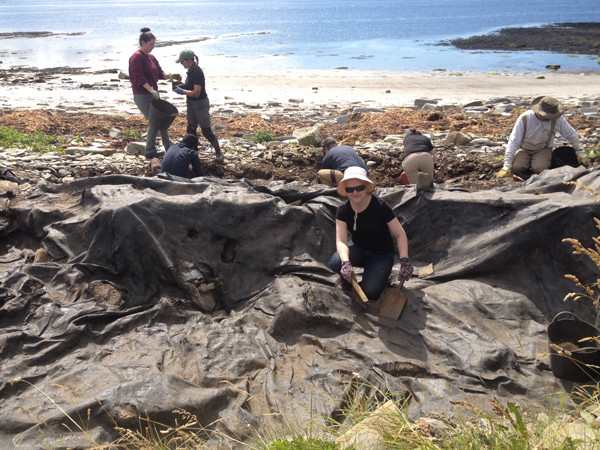 Hard & dirty work uncovering the site at Swandro, Orkney