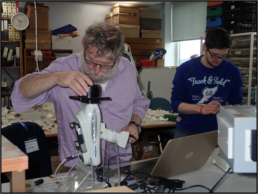 Gerry McDonnell & his XRF machine in the lab at Bradford