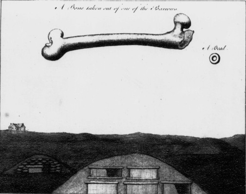 Illustration by George Low of a barrow, bone & bead from the Links of Skaill, Orkney