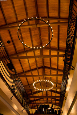 Wooden ceilings in the restaurant