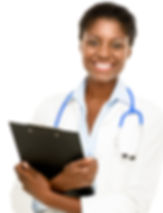 Happy African American trusted Doctor Wo