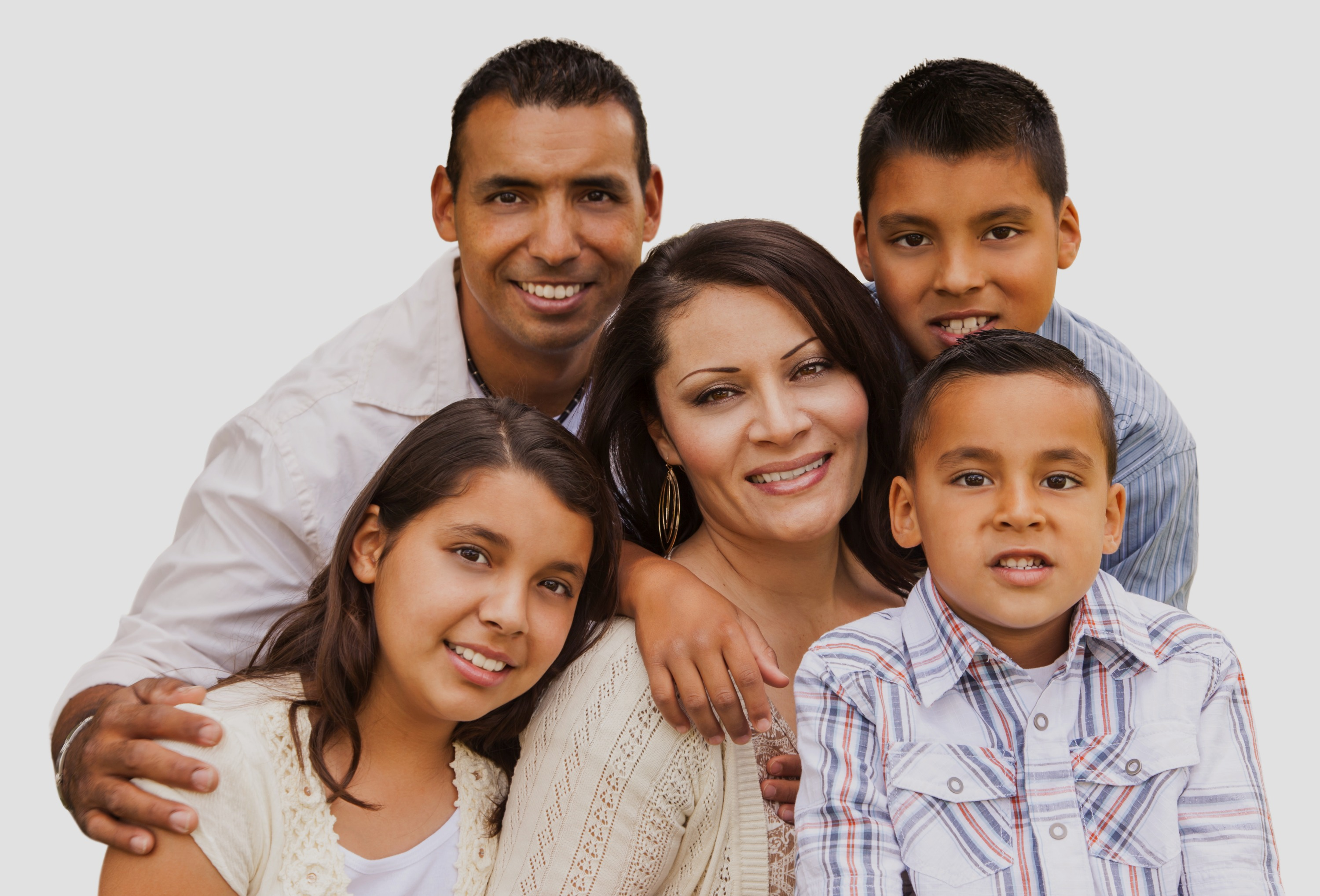 Happy Attractive Hispanic Family Portrai