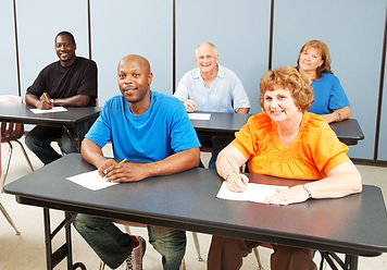 Diverse adult education class, various a