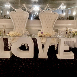 Love Table for Bride and Groom with Clear Top