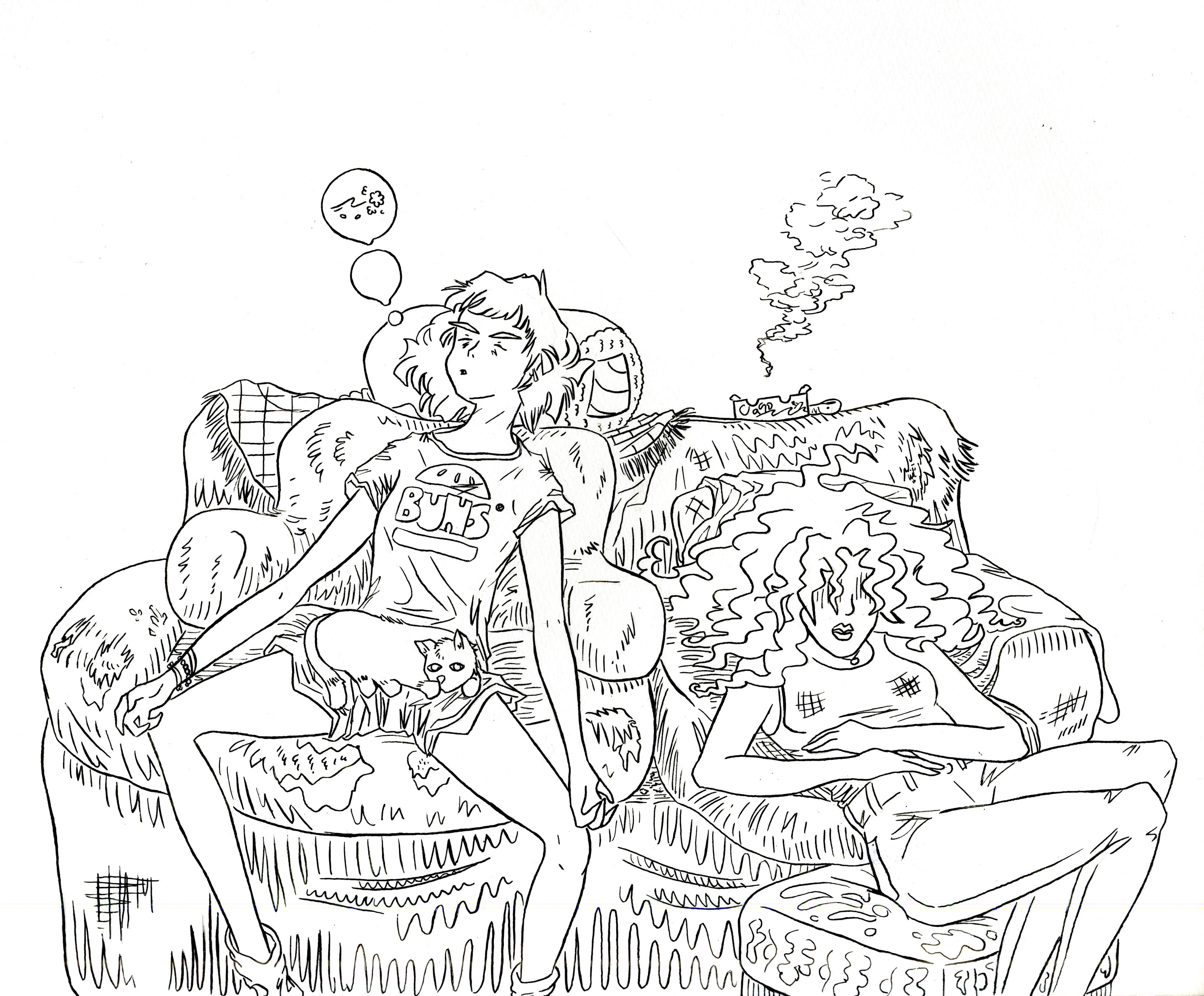The Long Morning (line art)