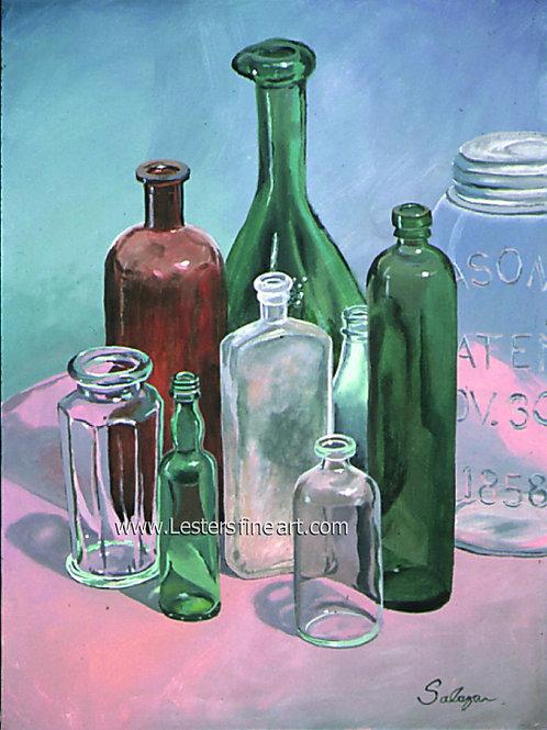"Bottles,  Acrylic, 24""x18"""