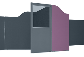 A set of 2 acoustic booths in mauve fabric one has a Perspex screen with wave top design