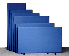 6 E ranges acoustic office screens in blue fabric & black edges on black screen feet