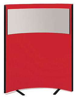 Curved Perspex office screen in red fabric with a top glazed see through area