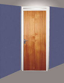 Blue office partition walls with door made of dark red wood in a light grey metal frame 2125mm in feet