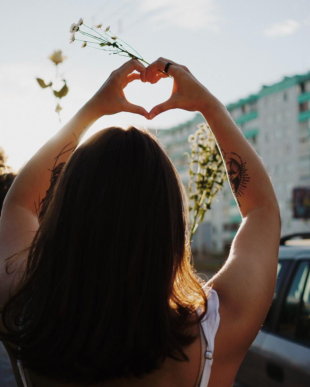 Loving nature, organic, plants, woman, love heart
