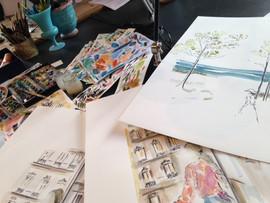 Aquarelle travail à l'atelier