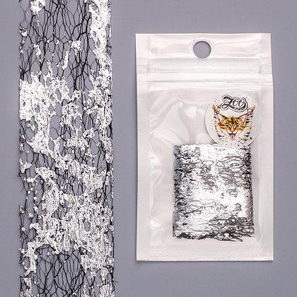 Фольга «Сетка поталь» Zoo №1583 чёрный/серебро