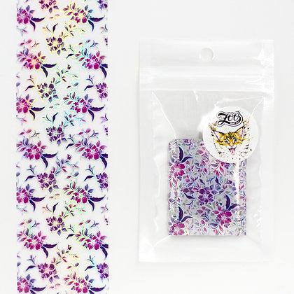 Фольга переводная Zoo №1537 цветы голография