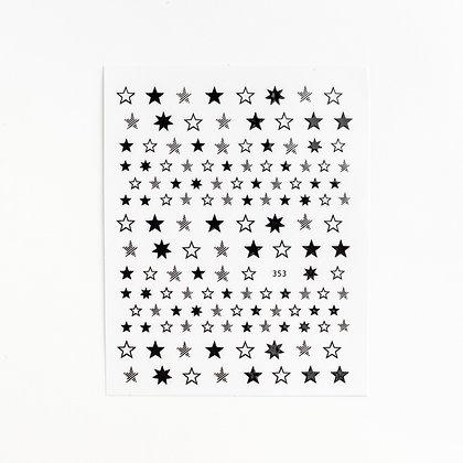 Наклейки металлизированные звездочки №1534